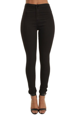 Black High Waisted Plain Skinny Jeans