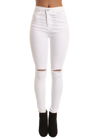 White High Waisted 5 Pocket Ripped Knee Skinny Jeans