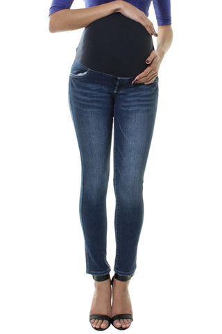 Faded Denim Skinny Over Bump Maternity Jeans