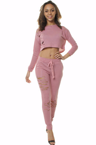 Extreme Rip Cropped Dusty Pink Loungewear Set