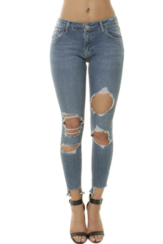 Patchy Ripped Light Denim Stone Washed Skinny Jeans