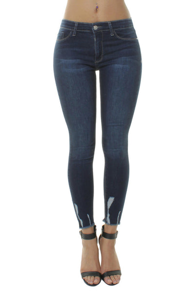 Dark Blue Denim Stonewash Frayed Hem Skinny Jeans