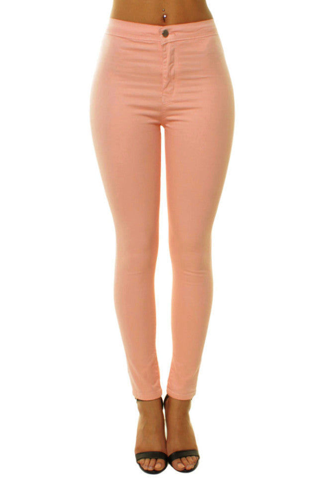 Dusty Pink High Waisted Plain Skinny Jeans