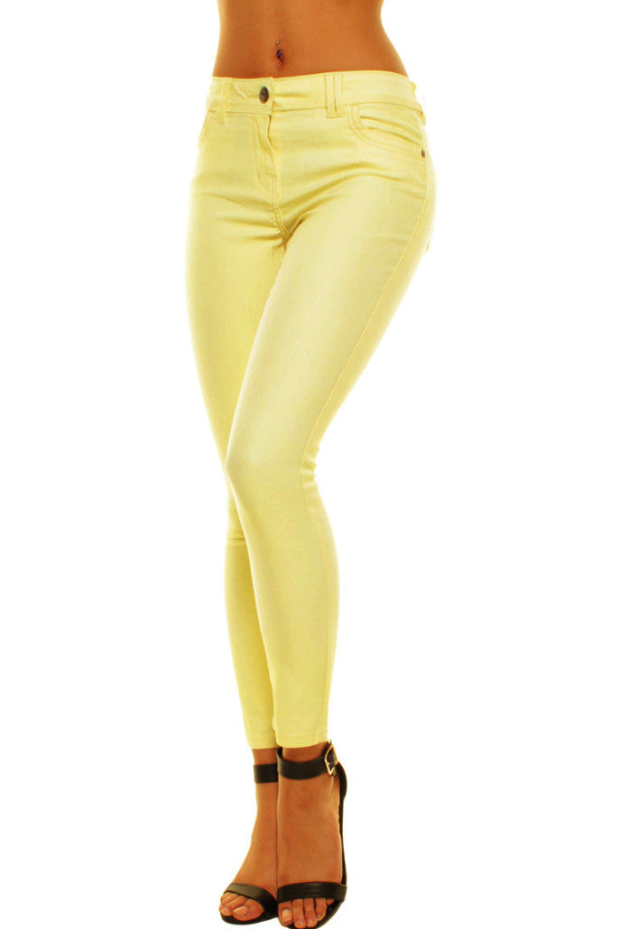 Yellow High Waisted Summer Ankle Length Skinny Jeans Jeggings - Yellow High Waisted Summer Ankle Length Skinny Jeans Jeggings