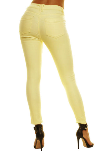 Yellow High Waisted Summer Ankle Length Skinny Jeans Jeggings