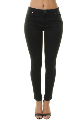 Black Mid Rise Casual Style Slim Fit Jeans