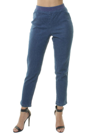 Denim Elasticated High Waist Loose Fit Wide Leg Cropped Jeans