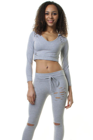 Cropped Extreme Ripped Hooded Loungewear Set