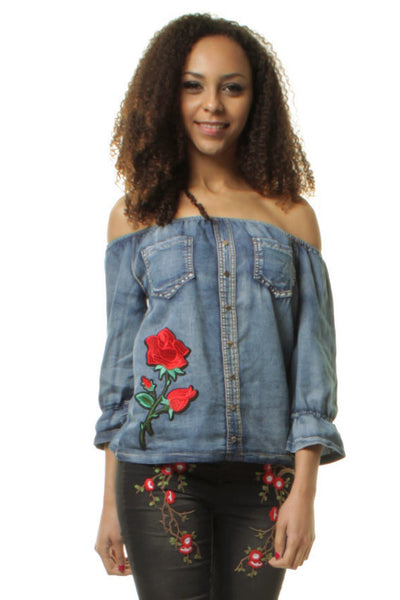 Rose Embroidered Stonewashed Dark Denim Off Shoulder ¾ Sleeve Top