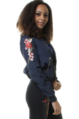 Navy Bomber Jacket with Elegant Embroidered Rose