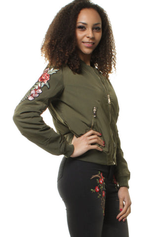 Khaki Bomber Jacket with Elegant Embroidered Rose