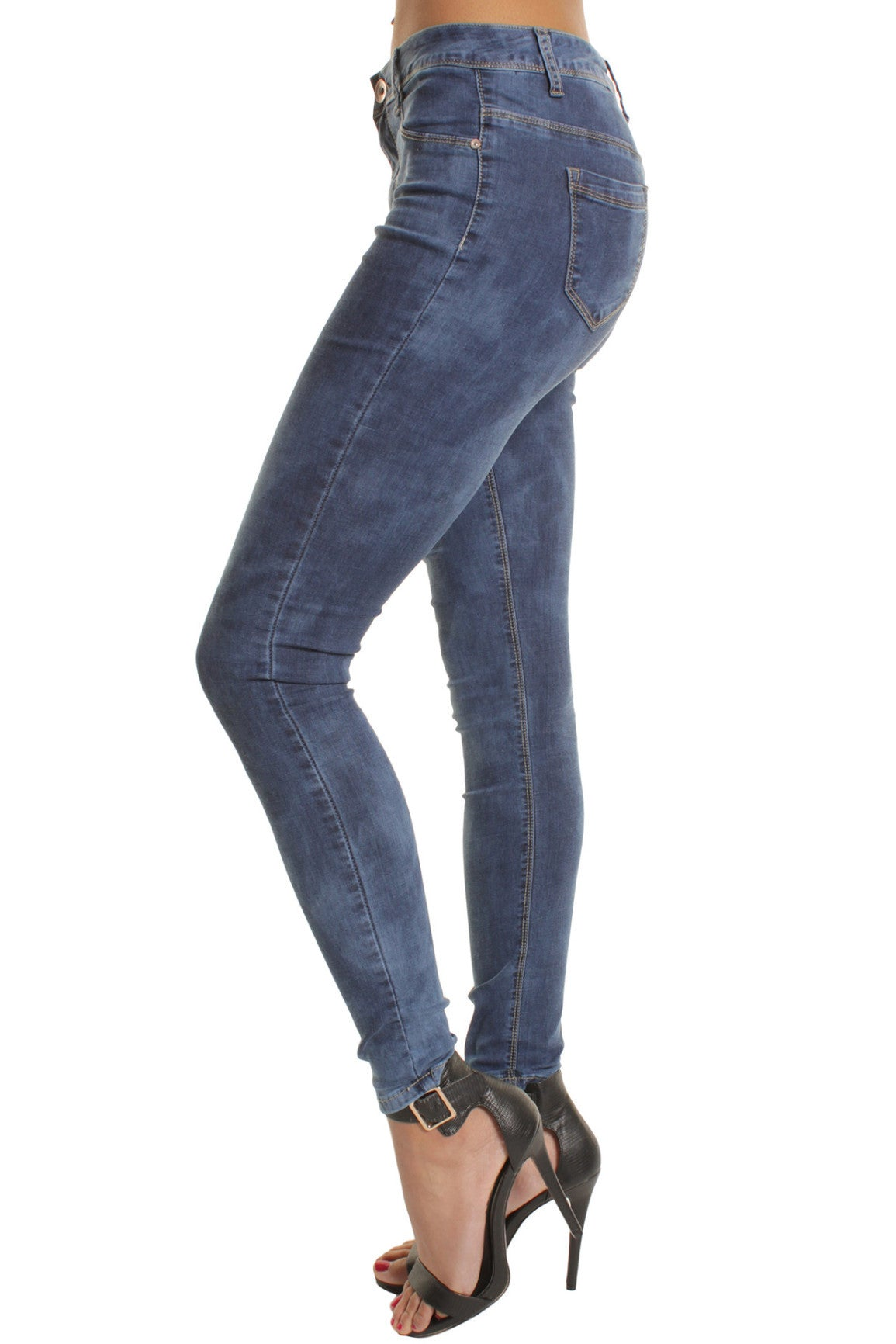 Blue Acid Wash High Waisted Skinny Jeans