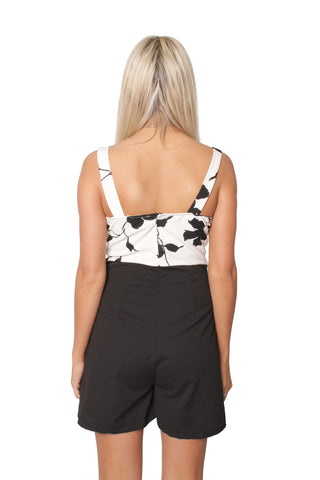 Monochrome Floral Playsuit
