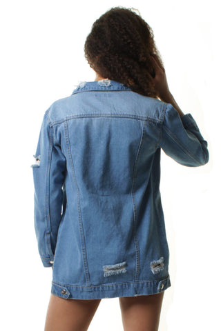 Distressed Stonewashed Long Line Denim Jacket