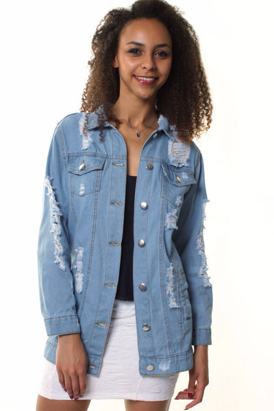 Extreme Ripped Long Line Denim Jacket