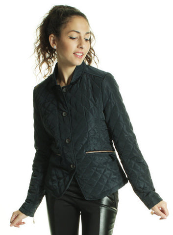 Quilted Biker Jacket with PU Details