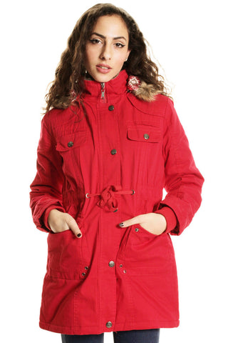 Red Fur Lined Parka with Drawstring Waist