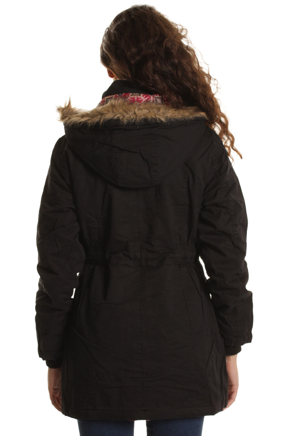 Black Fur Lined Parka with Drawstring Waist