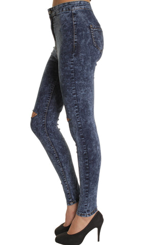 Dark Acid Wash High Waisted Ripped Knee Stretchy Jeans