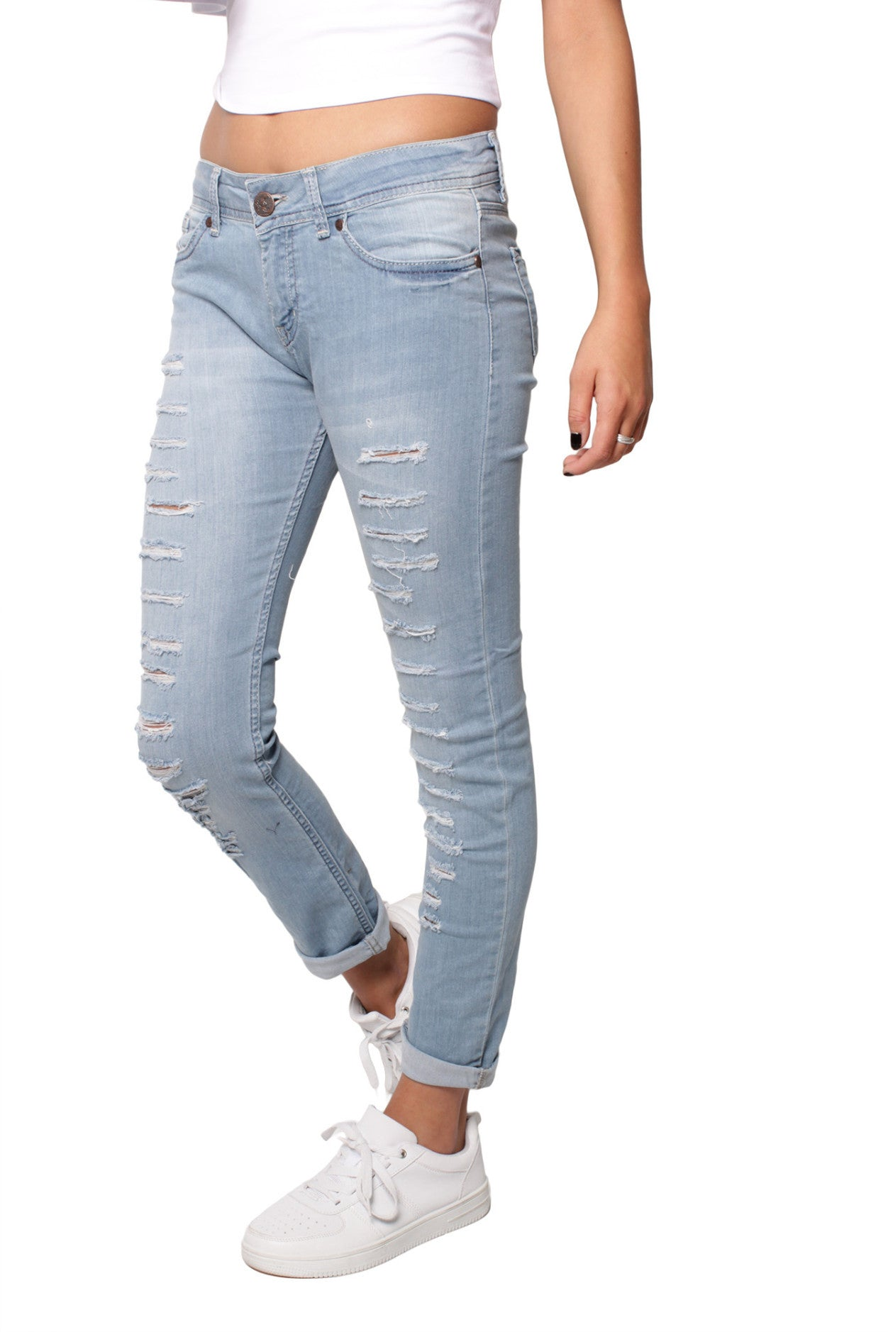 Blue 5 Pocket Extreme Ripped Skinny Jeans