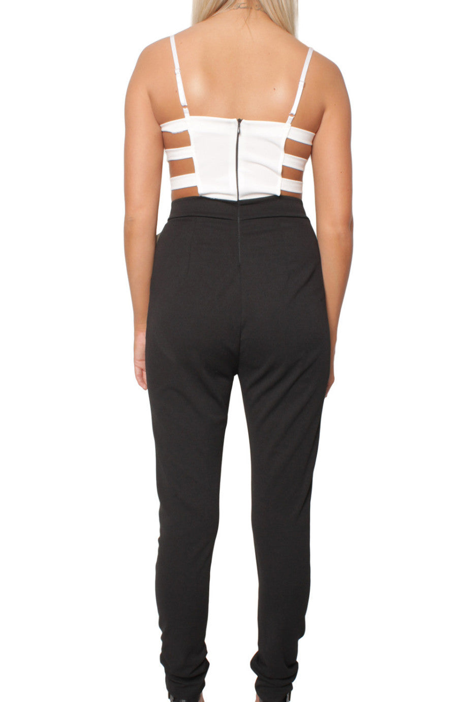 Black and White Cut Out Jumpsuit
