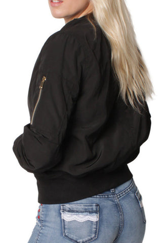 Black Plain Pocket Bomber Jacket