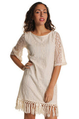 Cream Bohemian Aztec Embroidered Shift Dress