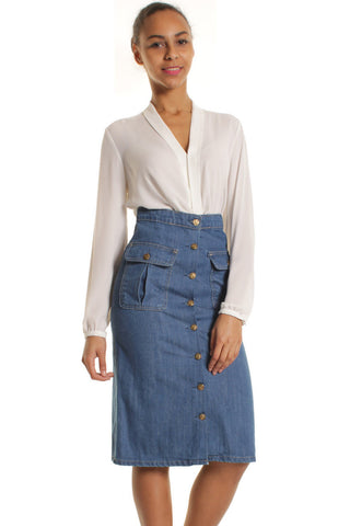 Mid Blue Midi Denim Skirt