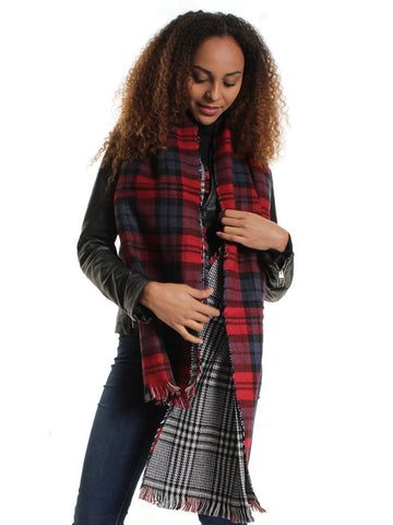 Red Oversized Reversible Tartan Scarf