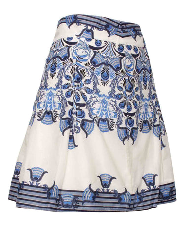 Floral Print Midi Skater White and Blue Skirt