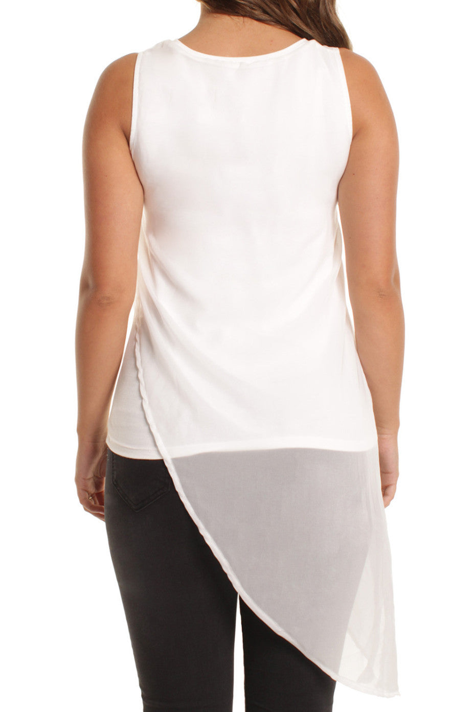 White Asymmetric Design Sleeveless Vest