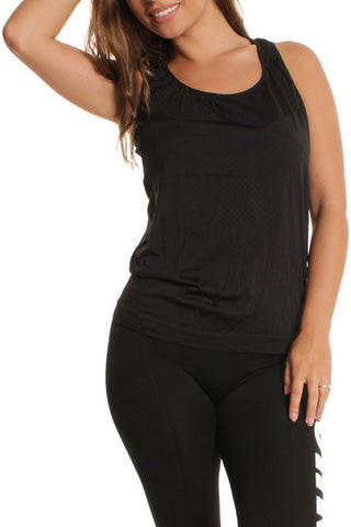 Black Mesh Sleeveless Sports Vest