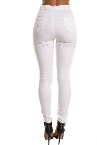 White High Waisted Plain Skinny Jeans