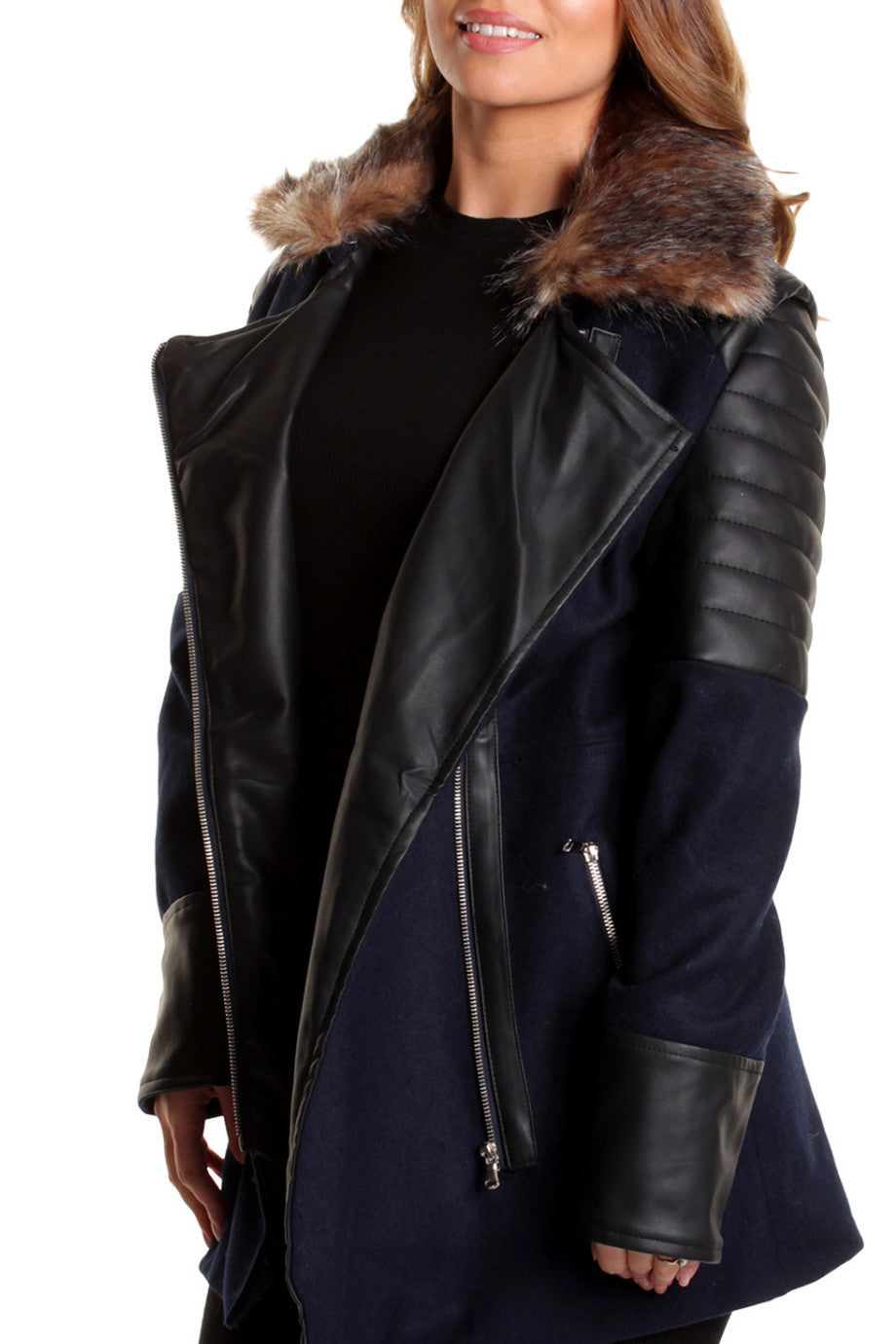 Navy Wool Mix Leather Panel Coat
