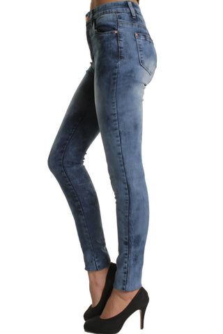 Blue Stonewashed High Waisted Skinny Jeans