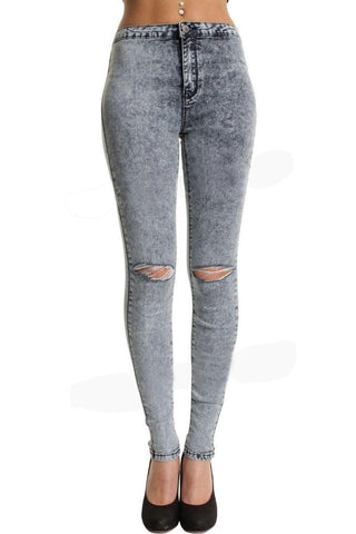 Blue Acid Wash High Waisted Ripped Knee Stretchy Jeans