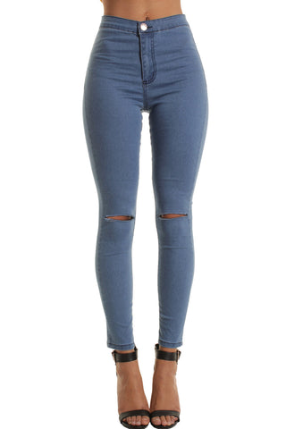 Light Blue High Waisted Ripped Knee Skinny Jeans