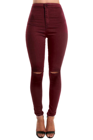 Burgundy High Waisted Ripped Knee Skinny Jeans
