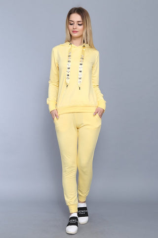 Jewelled Embellished  Hooded Yellow Tracksuit Set