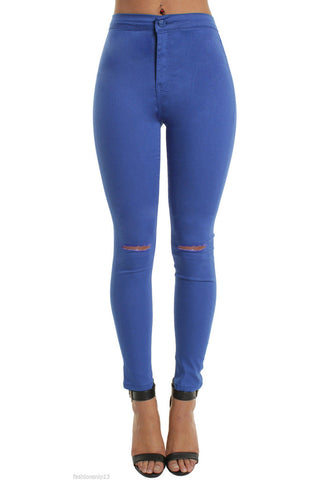 Royal Blue High Waisted Ripped Knee Skinny Jeans