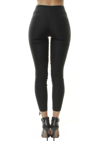 Lace Up Eyelet High Waisted Skinny Jeggings