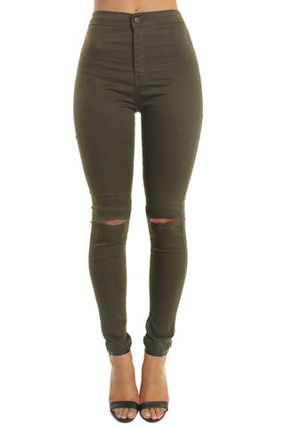 Khaki High Waisted Ripped Knee Skinny Jeans