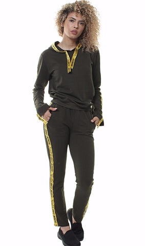 Hooded Tracksuit With Ribbon Detail