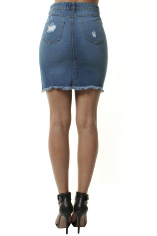 Frayed High Waisted Slit Front Blue Denim Short Skirt