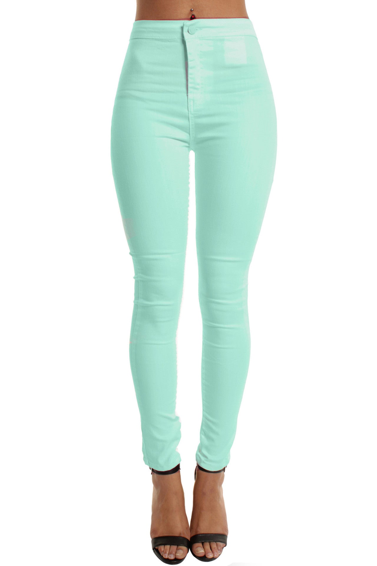 Turquoise High Waisted Plain Skinny Jeans