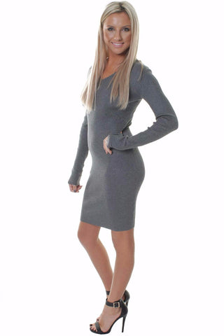 Laced Deep V Cut Out Back Marl Grey Dress