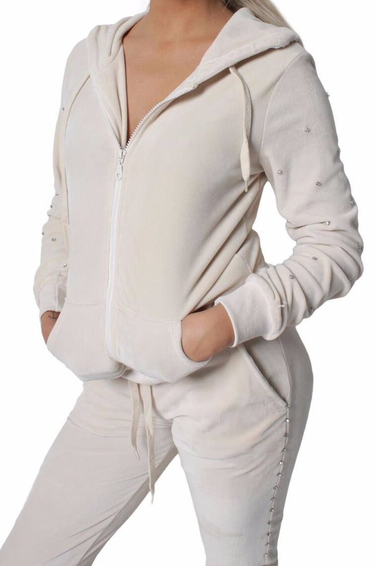 Diamond Cream Velvet Tracksuit Set