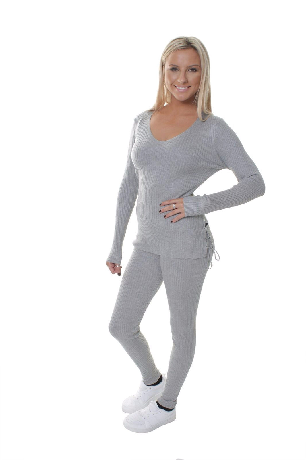 Light Grey V Cut  Side Laced Up Laungwear Set