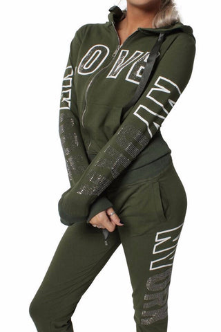 Khaki Love Embellishment Design Tracksuit Set