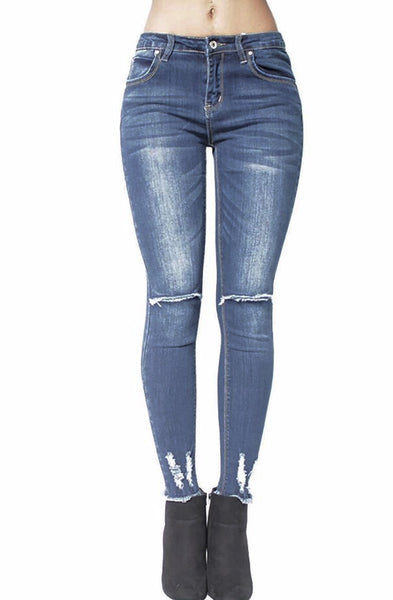 Denim Frayed Ripped Skinny Jeans